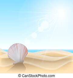 Shell on the beach Summer holidays vector illustration