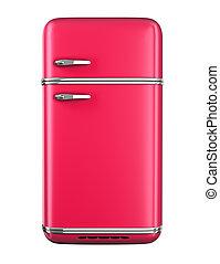 Retro refrigerator - isolated on white background