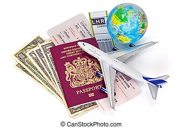 Global travel still life on white background The ticket and...