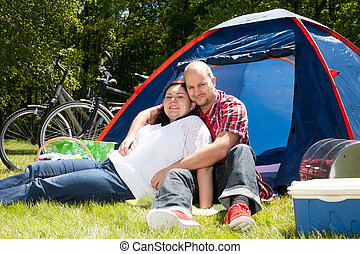 Enjoy the good weather on our vacation - Happy young couple...