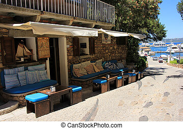 Porto Cervo - Small restaurant of a luxury resort in the...
