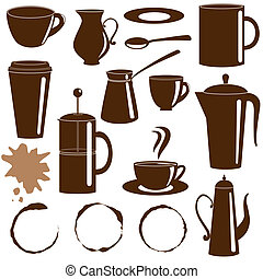 Coffee and tea items silhouettes set