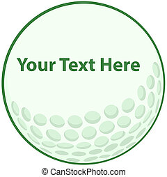 Green Golf Ball Sign Cartoon Character