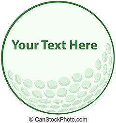 Green Golf Ball Sign Cartoon Character