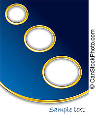 Dark blue background with gold rings and white space