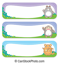 cute animals set of banner elements