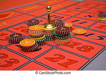 casino - chips on a casino table