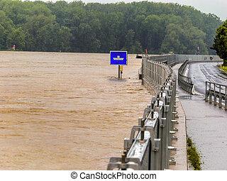 flood, 2013, mauthausen, austria - flood of 2013....