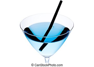 detail of blue cocktail with black straw on a white...