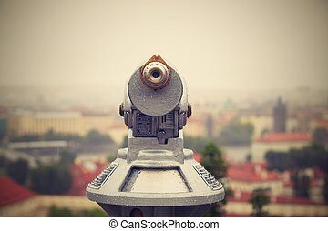 Binocular for use by tourists at Prague - selective focus