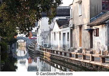 Early morning on Pingjianglu, Suzhou, China - Pingjianglu is...