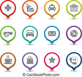 Map Pins with icons. - Points of interest. Map pins with...