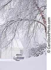 Snowstorm in Kentucky A truck parked in the driveway during...