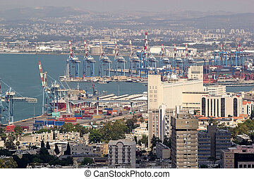 Haifa town view with harbour and seascape, Israel