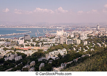Haifa town view with stadium, harbour and seascape, Israel