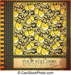 Retro card with quince - Retro, grunge card with quince