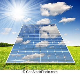 Solar energy panels against sky