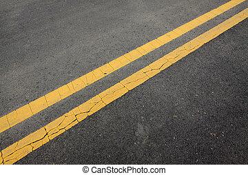 amarillo, doble, sólido, línea