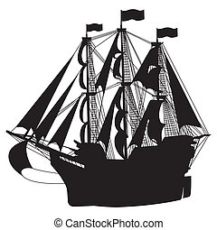 Sailing Ship - Vector illustration of ship silhouette on a...