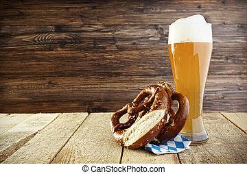 Oktoberfest,  helles,  Pretzel,  /, cerveza,  hefeweizen