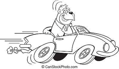 Cartoon gorilla driving a car - Black and white illustration...