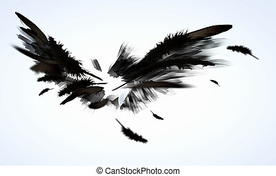 Black wings - Abstract image of black wings against light...