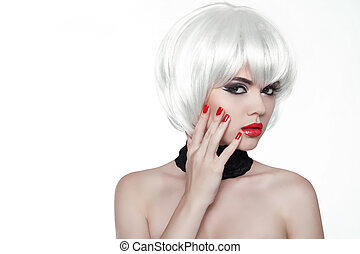 Woman Makeup and Polish nails Red Lips and Manicured Hands...
