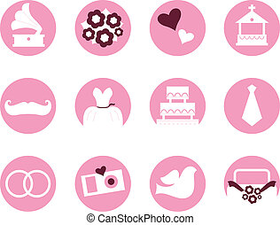 Wedding icons in retro style isolated on white ( pink )