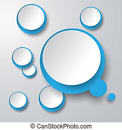 Blue White Thought Bubble With Circles 2