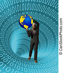 Internet - Man holding earth in binary tunnel