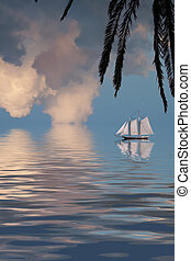 Sailing Ship on tropical sea