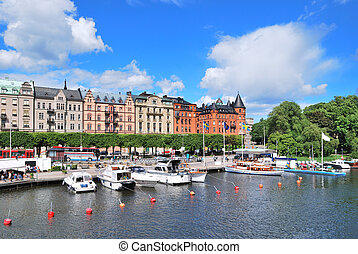 Stockholm Beautiful quay in Ostermalm - Stockholm, Sweden...