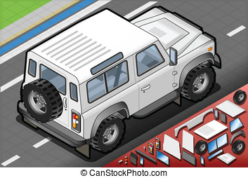 Isometric White Cross Country Vehicle in Rear View -...