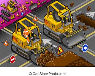 Isometric Mini Excavator in Front View