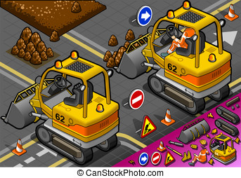 Isometric Mini Excavator in Rear View - detailed...