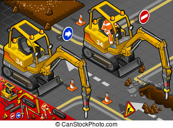 Isometric Mini Chisel Excavator in Front View - detailed...