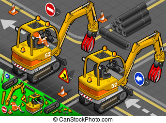 Isometric Mini Mechanical Arm Excavator in Rear View -...