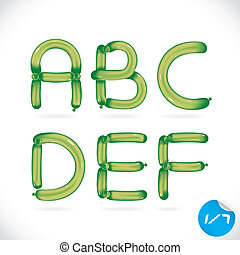 Unique Glossy Balloon Alphabet With Sticker
