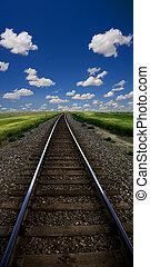 paisaje, tren, pistas