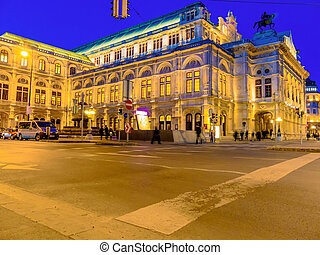vienna austria opera - the opera in vienna, austria evening...