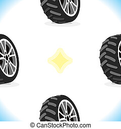 Seamless Pattern With Wheels - Vector Seamless Pattern With...