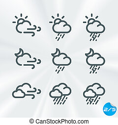 Vector Weather Icons Collection With Sticker
