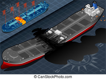 Isometric Ship Tanker Destroyed in Two Parts in Front View -...