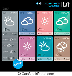 Vector Weather Widget With Sticker