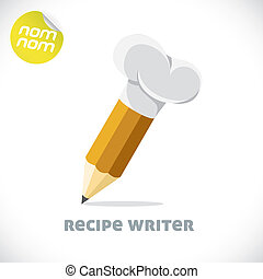 Recipe Writer Illustration - Glossy Recipe Writer...