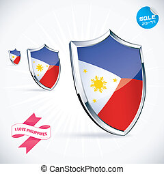I Love Philippines Flag Illustration With Sticker