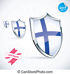 I Love Finland Flag Illustration With Sticker