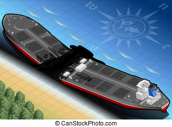Isometric Ship Tanker Destroyed in Two Parts in Rear View -...