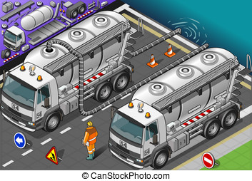 Isometric Liquid Tank Truck in Front View - Detailed...