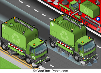Isometric Garbage Cleaner Truck in Front View - Detailed...